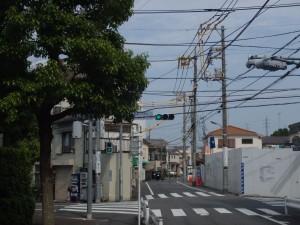 道路左端を走行していると手前の木に邪魔されて交差点表示が直前まで見えなくなるので要注意。
